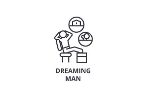 dreaming man thin line icon, sign, symbol, illustation, linear concept, vector