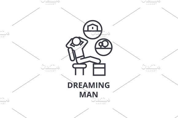 Dreaming Man Thin Line Icon Sign Symbol Illustation Linear Concept Vector
