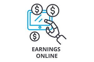 earnings online thin line icon, sign, symbol, illustation, linear concept, vector