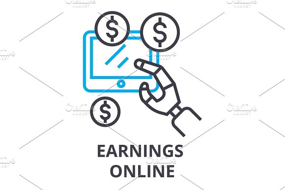 Earnings Online Thin Line Icon Sign Symbol Illustation Linear Concept Vector