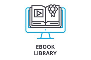 ebook library thin line icon, sign, symbol, illustation, linear concept, vector