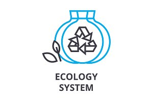 ecology system thin line icon, sign, symbol, illustation, linear concept, vector