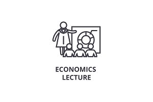 economics lecture thin line icon, sign, symbol, illustation, linear concept, vector
