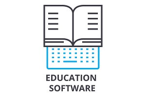 education software thin line icon, sign, symbol, illustation, linear concept, vector