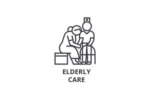 elderly care thin line icon, sign, symbol, illustation, linear concept, vector