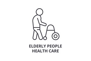 elderly people health care thin line icon, sign, symbol, illustation, linear concept, vector
