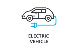 electric vehicle thin line icon, sign, symbol, illustation, linear concept, vector