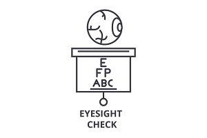 eyesight check thin line icon, sign, symbol, illustation, linear concept, vector