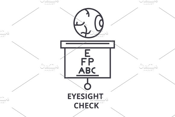 Eyesight Check Thin Line Icon Sign Symbol Illustation Linear Concept Vector