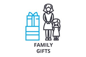 family gifts thin line icon, sign, symbol, illustation, linear concept, vector