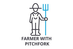 farmer with pitchfork thin line icon, sign, symbol, illustation, linear concept, vector