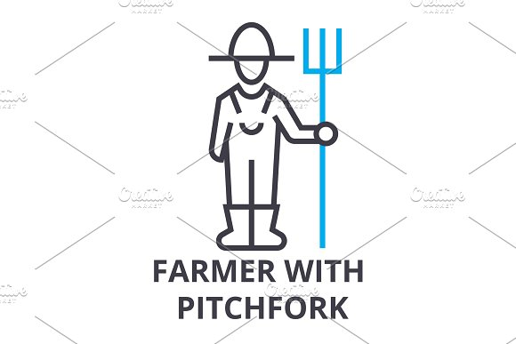 Farmer With Pitchfork Thin Line Icon Sign Symbol Illustation Linear Concept Vector