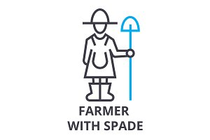 farmer with spade thin line icon, sign, symbol, illustation, linear concept, vector