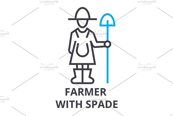 Farmer With Spade Thin Line Icon Sign Symbol Illustation Linear Concept Vector