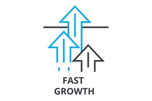 fast growth thin line icon, sign, symbol, illustation, linear concept, vector