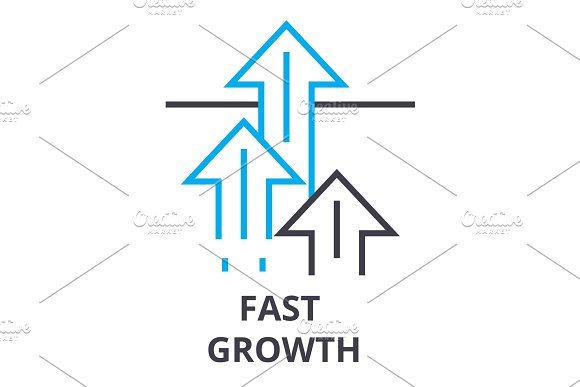 Fast Growth Thin Line Icon Sign Symbol Illustation Linear Concept Vector