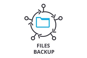 files backup thin line icon, sign, symbol, illustation, linear concept, vector