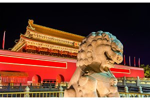 Lion in front of the Tiananmen Gate in Beijing