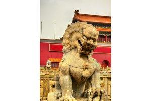Lion in front of the Tiananmen Gate in Beijing
