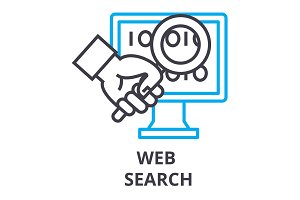 web search thin line icon, sign, symbol, illustation, linear concept, vector