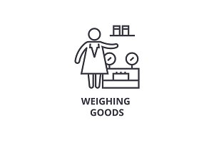 weighing goods thin line icon, sign, symbol, illustation, linear concept, vector