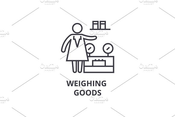 Weighing Goods Thin Line Icon Sign Symbol Illustation Linear Concept Vector