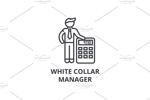 White Collar Thin Line Icon Sign Symbol Illustation Linear Concept Vector