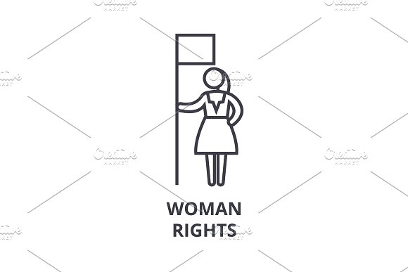 Woman Rights Thin Line Icon Sign Symbol Illustation Linear Concept Vector
