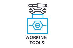 working tools thin line icon, sign, symbol, illustation, linear concept, vector