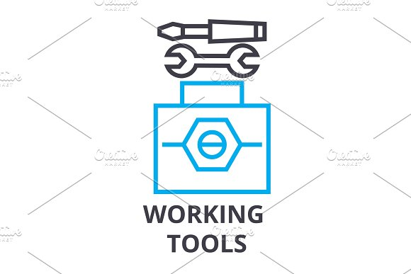 Working Tools Thin Line Icon Sign Symbol Illustation Linear Concept Vector