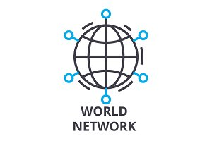 world network thin line icon, sign, symbol, illustation, linear concept, vector