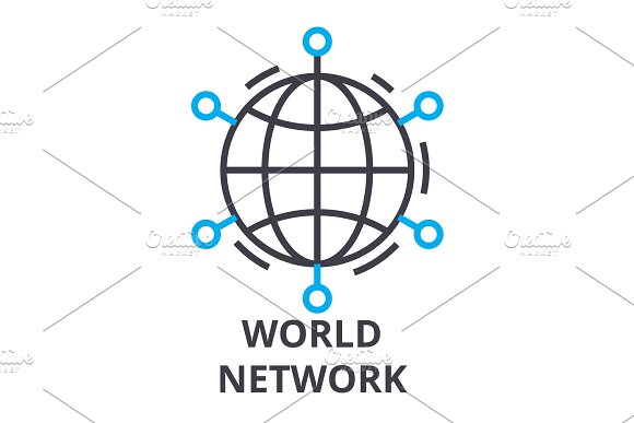 World Network Thin Line Icon Sign Symbol Illustation Linear Concept Vector