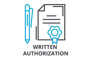 written authorization thin line icon, sign, symbol, illustation, linear concept, vector