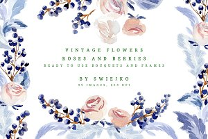 Vintage Flowers, watercolor roses