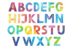 Sans Serif Gothic Grotesk alphabet drawing in color pencils