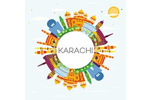 Karachi Skyline with Color Landmarks