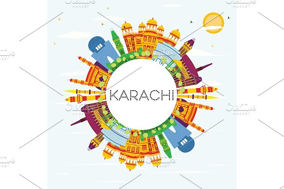 Karachi Skyline With Color Landmarks