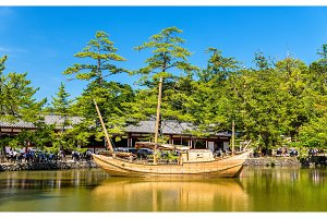 Boat at Todai-ji temple complex in Nara