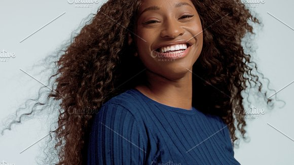 Beauty Black Mixed Race African American Woman With Long Curly Hair