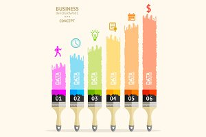 Vector business brush infographics.