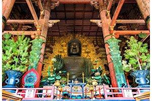 Daibutsu, Giant Buddha statue in Todai-ji temple - Nara
