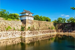 Defensive walls of Osaka Castle in Japan