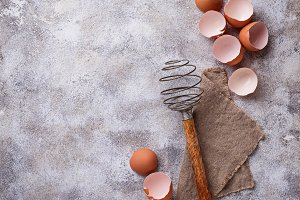 Eggshell and old  vintage whisk