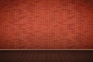 Red brick wall room