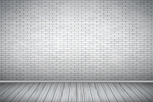 White brick wall room