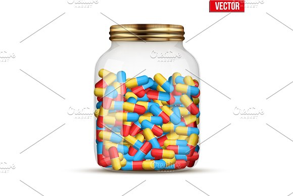 Glass Jars With Pills