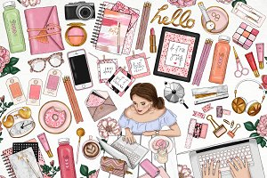 Girlboss Fashion Girl Clip Art