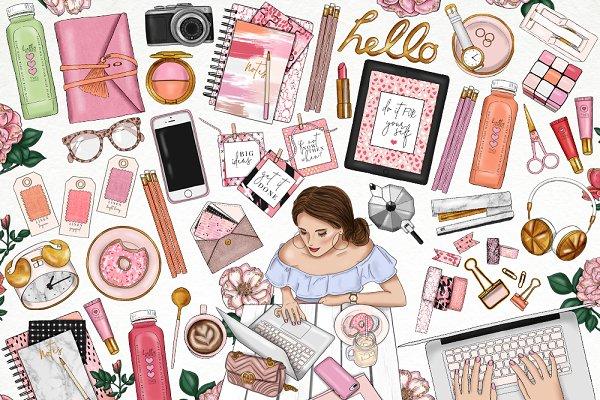 Girlboss Fashion Girl Clip Art
