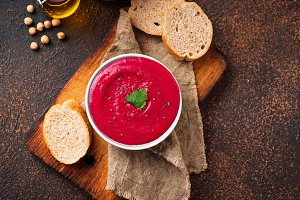 Beetroot hummus. Healthy vegan appetizer