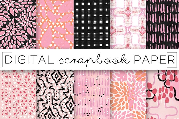 Peach Pink Coral Digital Paper